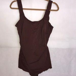 Jantzen brown one piece swim dress skirt 20W